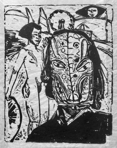 Self-portrait with Jaguar mask